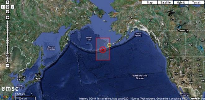 Землетрясение возле Алеутских островов
