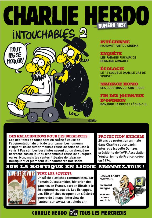 Французы опубликовали карикатуры на Мухаммеда.