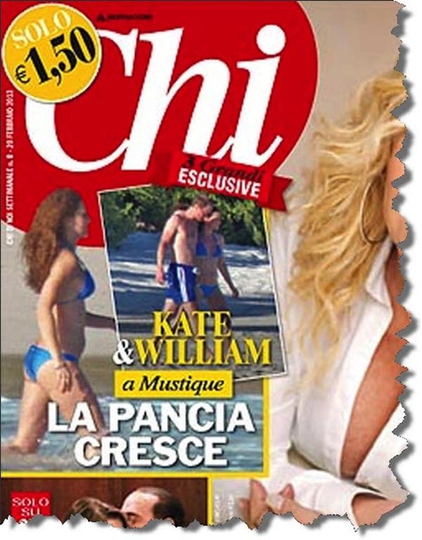 Издательство Берлускони опубликовало первые фото беременной герцогине Кембриджской.