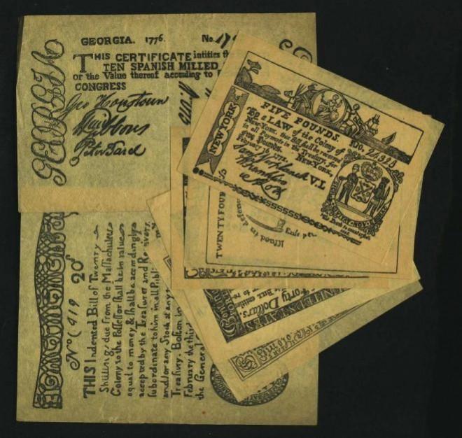 Первые бумажные деньги Америки